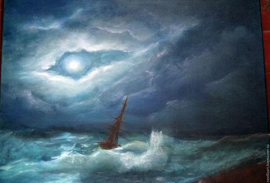 Пейзаж ручной работы. Ярмарка Мастеров - ручная работа. Купить Ночное море. Handmade. Тёмно-синий, луна, картина в подарок