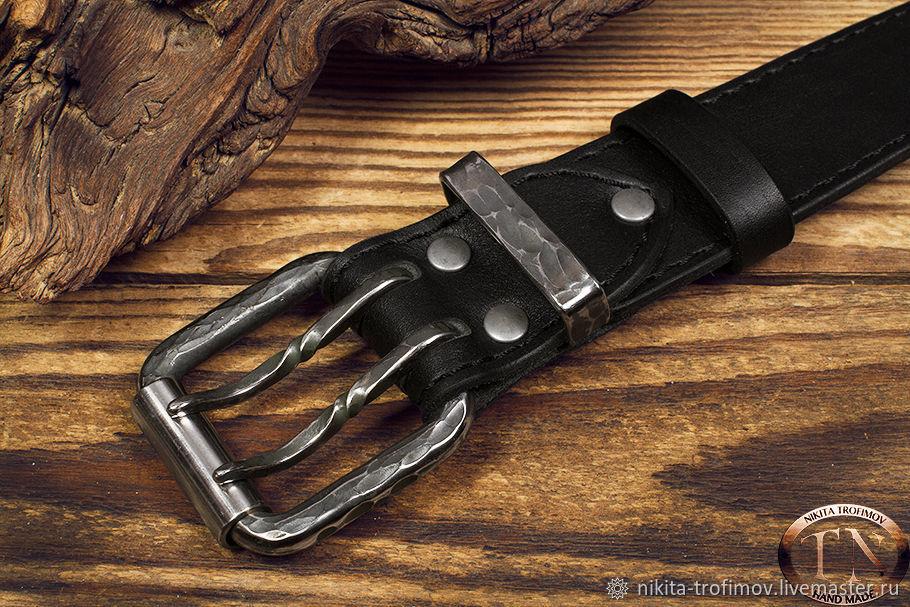 Двухшпеньковый ремень с кованой пряжкой из стали, Ремни, Владимир,  Фото №1