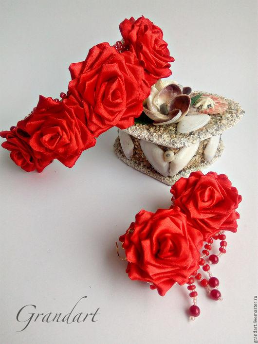 """Диадемы, обручи ручной работы. Ярмарка Мастеров - ручная работа. Купить Ободок и серьги с цветами в технике канзаши """"Рубиновый сад"""". Handmade."""