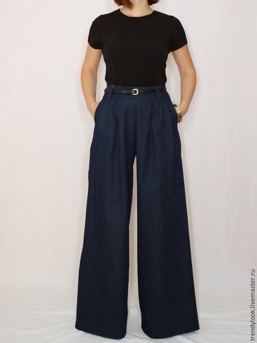 Брюки, шорты ручной работы. Ярмарка Мастеров - ручная работа. Купить Джинсовые брюки Темно-синие широкие штаны женские офисный стиль. Handmade.
