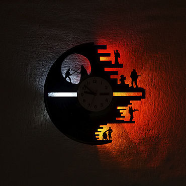 For home and interior handmade. Livemaster - original item Wall clock with led light from star Wars record. Handmade.