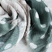 Аксессуары handmade. Livemaster - original item Green-beige linen stole