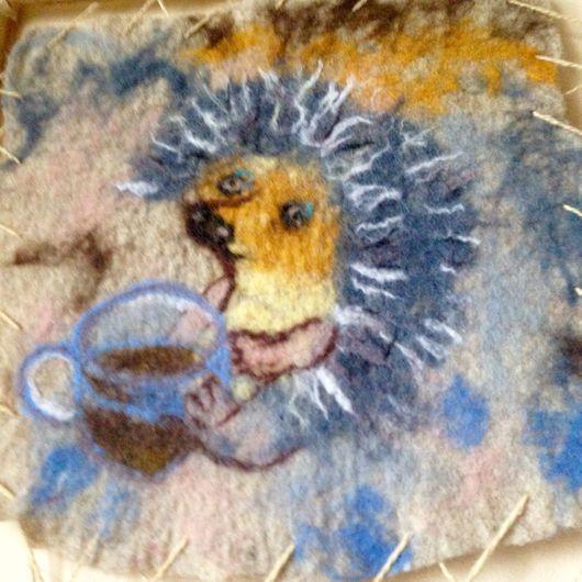 Животные ручной работы. Ярмарка Мастеров - ручная работа. Купить Валяная картина для детской Ежик. Handmade. Ежик, для ребенка