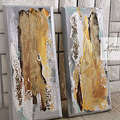 Картины и панно handmade. Livemaster - original item Pair paintings Radiance, abstract paintings with gold. Handmade.