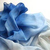 Аксессуары ручной работы. Ярмарка Мастеров - ручная работа Платок бело-синий шелковый большой. Handmade.