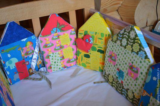 Детская ручной работы. Ярмарка Мастеров - ручная работа. Купить Бортики домики в детскую кроватку. Handmade. Комбинированный, комплект для девочки
