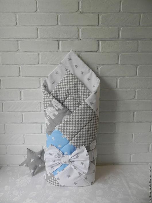 """Для новорожденных, ручной работы. Ярмарка Мастеров - ручная работа. Купить Одеяло-конверт """"Звездочки"""". Handmade. Серый, одеяло на выписку"""