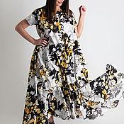 Одежда handmade. Livemaster - original item Yellow, long dresses with floral print - DR0760CT0DBL. Handmade.