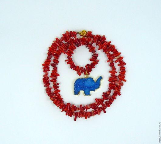 Колье, бусы ручной работы. Ярмарка Мастеров - ручная работа. Купить Колье из красного коралла, подвеска слон  друза агата. Handmade.