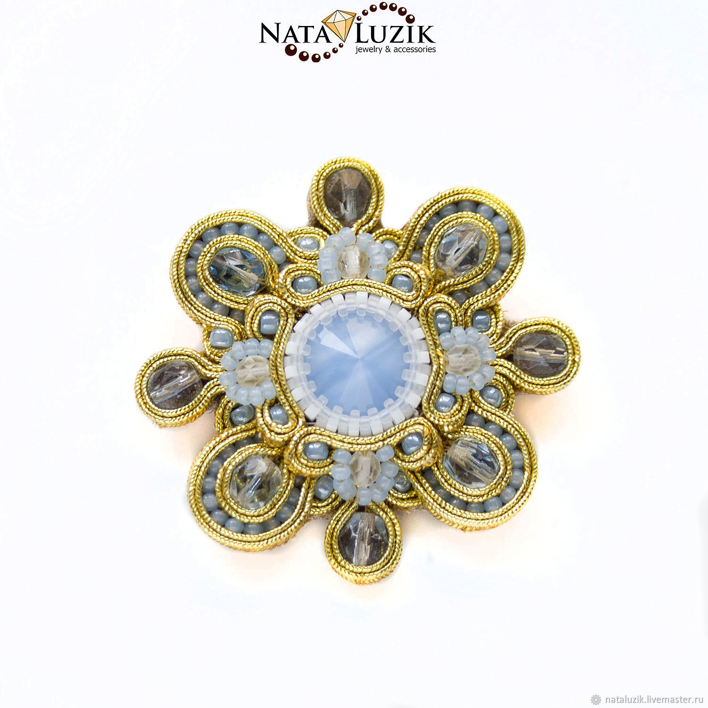 Brooch gold blue soutache pendant Swarovski `Tsarskoye Selo`