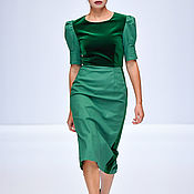 Одежда handmade. Livemaster - original item Green dress MIDI. Handmade.