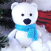 Куклы и игрушки handmade. Livemaster - original item Knitted toy Bear kid white in a scarf. Handmade.