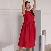 Одежда handmade. Livemaster - original item Red linen dress with red lace. Handmade.