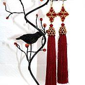 Украшения handmade. Livemaster - original item Burgundy earrings tassels with gold beads 24K. Handmade.