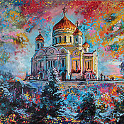 Картины и панно handmade. Livemaster - original item The picture Moscow Cathedral of Christ the Savior,