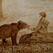 """Картины и панно ручной работы. Ярмарка Мастеров - ручная работа Кофейный рисунок """"Девочка и медведь"""". Handmade."""