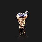 Украшения ручной работы. Ярмарка Мастеров - ручная работа Золотое кольцо 750 пробы с танзанитами и бриллиантами. Handmade.