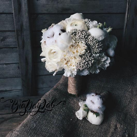Свадебные цветы ручной работы. Ярмарка Мастеров - ручная работа. Купить букет невесты и бутоньерка BigDayLab. Handmade. Белый, бутоньерка