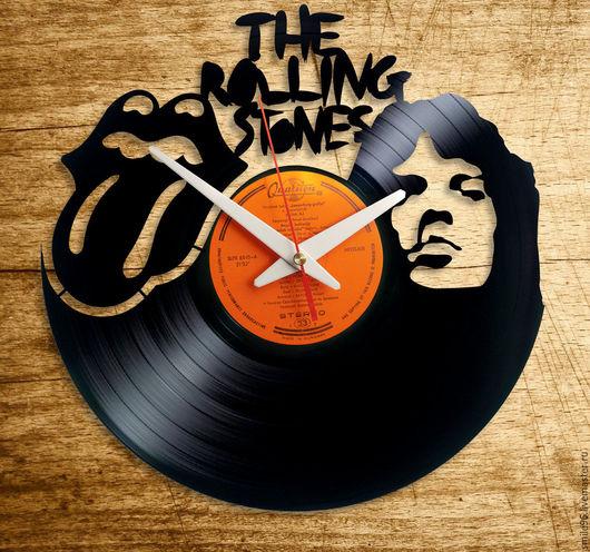 """Часы для дома ручной работы. Ярмарка Мастеров - ручная работа. Купить Часы из пластинки """"Rolling Stones"""". Handmade. Rolling stones"""