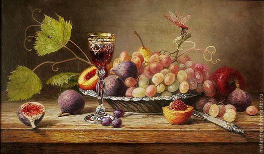 Натюрморт ручной работы. Ярмарка Мастеров - ручная работа. Купить Натюрморт с виноградом и инжиром. Handmade. Оливковый, натюрморт, натюрморт с фруктами