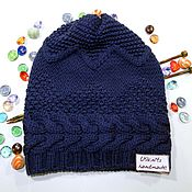 Аксессуары handmade. Livemaster - original item Knitted hat, beanie with a braid. Handmade.