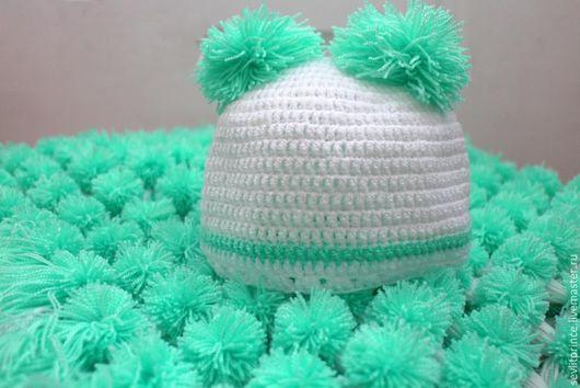 Для новорожденных, ручной работы. Ярмарка Мастеров - ручная работа. Купить Детский плед из помпонов + шапочка. Handmade. Мятный