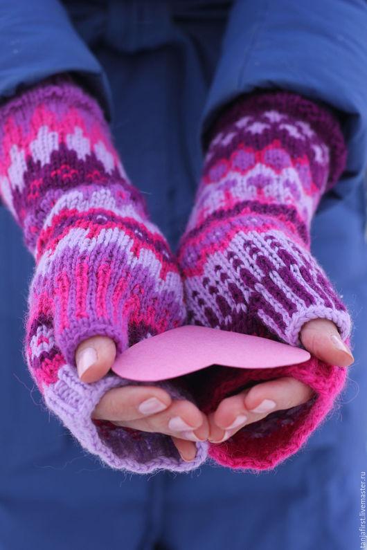 """Варежки, митенки, перчатки ручной работы. Ярмарка Мастеров - ручная работа. Купить Митенки """"Pur-Pur"""". Handmade. Комбинированный, розовый"""