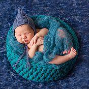 """Работы для детей, ручной работы. Ярмарка Мастеров - ручная работа Фотореквизит. Корзина """"Синяя бирюза"""" для фотосессии новорожденных. Handmade."""