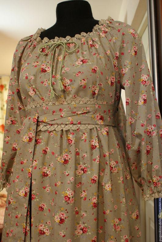 Платья ручной работы. Ярмарка Мастеров - ручная работа. Купить Свободное платье из хлопка в крестьянском стиле. Handmade. Серый