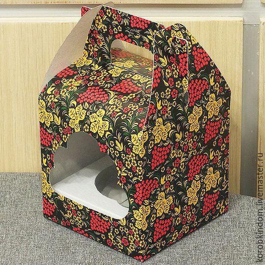 Упаковка ручной работы. Ярмарка Мастеров - ручная работа. Купить Коробочка 10х10х10 см с окошком Хохлома. Handmade. Коробочка, разноцветный
