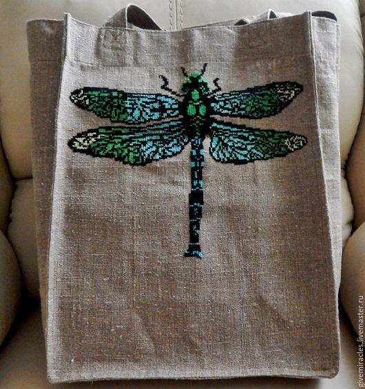 Женские сумки ручной работы. Ярмарка Мастеров - ручная работа. Купить Вышитая льняная сумка,эко-сумка,женская сумка, Стрекоза. Handmade.