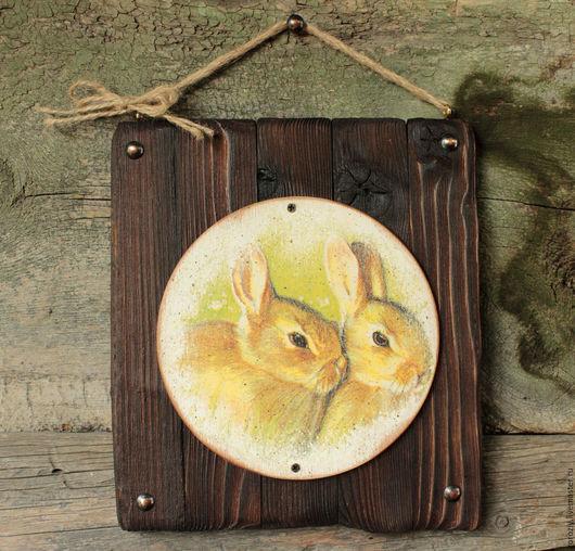 """Прихожая ручной работы. Ярмарка Мастеров - ручная работа. Купить Пано """"Кролики"""". Handmade. Зеленый, охотничий домик, стиль кантри"""