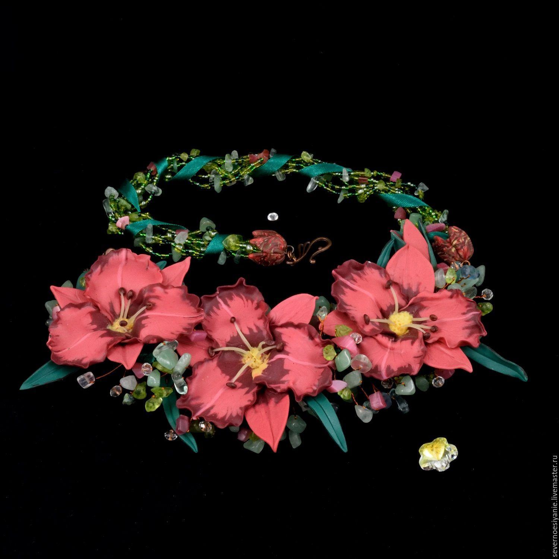 Колье из полимерной глины и каменной крошки цветы Лилейника розовые, Колье бусы, Полярный, Фото №1