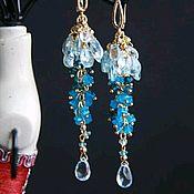 Украшения handmade. Livemaster - original item Cluster earrings, blue and London Topaz, Apatite