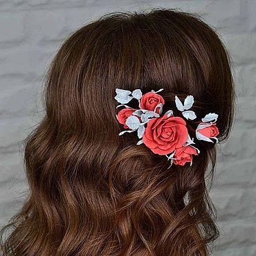 Свадебный салон ручной работы. Ярмарка Мастеров - ручная работа Цветочное украшение для прически из фоамирана, томатные розы. Handmade.