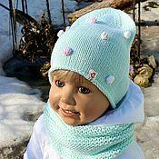 """Работы для детей, ручной работы. Ярмарка Мастеров - ручная работа """"Цветные пузырьки!)))""""-мятные шапочка+снуд. Handmade."""