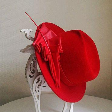 Аксессуары ручной работы. Ярмарка Мастеров - ручная работа Велюровая шляпа «Lady in red». Handmade.