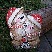 Куклы и игрушки ручной работы. Ярмарка Мастеров - ручная работа Влюблённая парочка с мешком Счастья...Кофейная новогодняя игрушка.. Handmade.