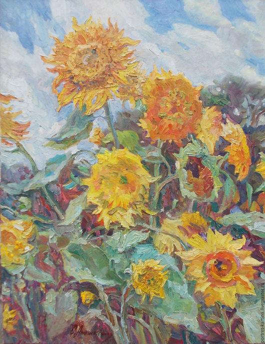 """Картины цветов ручной работы. Ярмарка Мастеров - ручная работа. Купить """"Подсолнухи"""". Handmade. Желтый, подсолнухи, желтые цветы"""