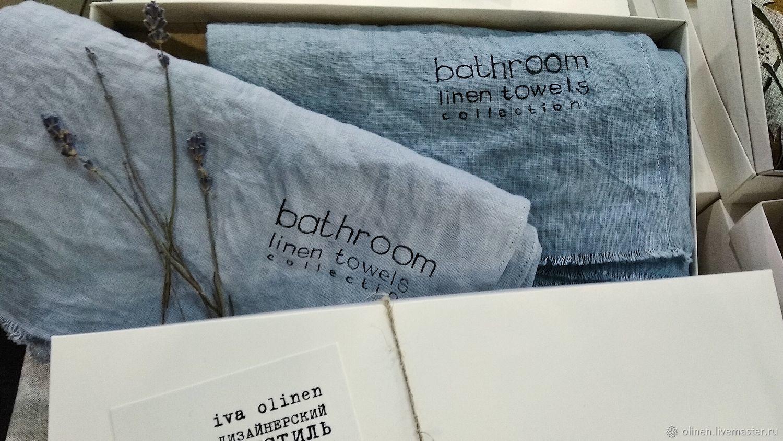 Льняные полотенца для ванной голубые, Полотенца, Ростов-на-Дону, Фото №1