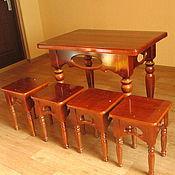 Для дома и интерьера handmade. Livemaster - original item Dining table and stools in solid cedar. Handmade.