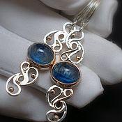 Украшения handmade. Livemaster - original item Earrings silver gold Gold openwork with kyanite. Handmade.
