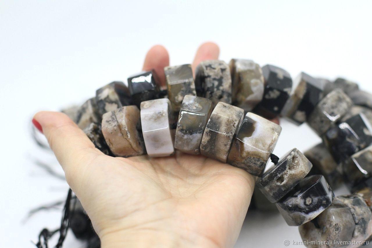 Для украшений ручной работы. Ярмарка Мастеров - ручная работа. Купить Агат черный сакура бусины рондели 30 мм. Handmade.