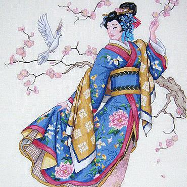 """Картины и панно ручной работы. Ярмарка Мастеров - ручная работа Вышитая картина """"Японка"""".. Handmade."""