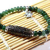Украшения handmade. Livemaster - original item Jadeite bracelet, DZI bead, amulet talisman.. Handmade.