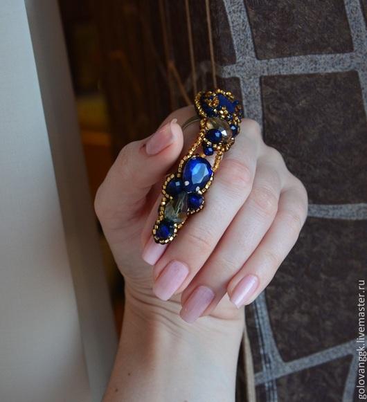 """Кольца ручной работы. Ярмарка Мастеров - ручная работа. Купить Кольцо """"Шикарное"""" из бисера.. Handmade. Разноцветный, кольцо с камнем, лазурит"""