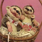 Куклы и игрушки ручной работы. Ярмарка Мастеров - ручная работа весёлые малыши ежата (фильц). Handmade.