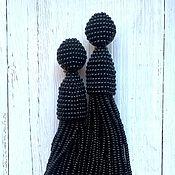 Украшения ручной работы. Ярмарка Мастеров - ручная работа Клипсы Оскар де ла Рента (реплика) длинные черные. Handmade.