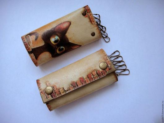 """Персональные подарки ручной работы. Ярмарка Мастеров - ручная работа. Купить ключница """"Любопытный кот"""". Handmade. Подарок, ключница"""