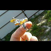 """Украшения ручной работы. Ярмарка Мастеров - ручная работа Кольцо """"Пчела на сотах"""" с янтарем. Handmade."""